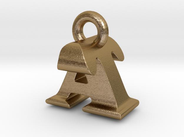 3D Monogram Pendant - ATF1 in Polished Gold Steel