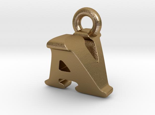 3D Monogram Pendant - AVF1 in Polished Gold Steel