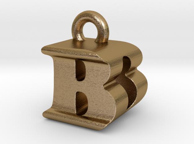 3D Monogram Pendant - BDF1 in Polished Gold Steel