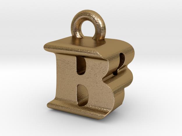 3D Monogram Pendant - BPF1 in Polished Gold Steel
