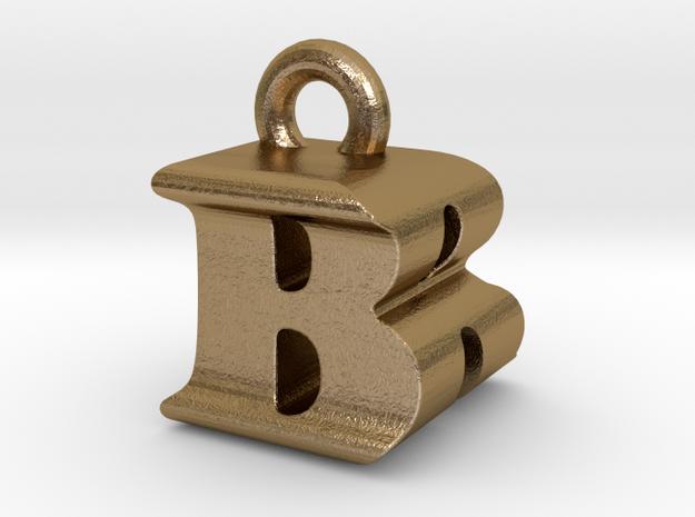 3D Monogram Pendant - BRF1 in Polished Gold Steel