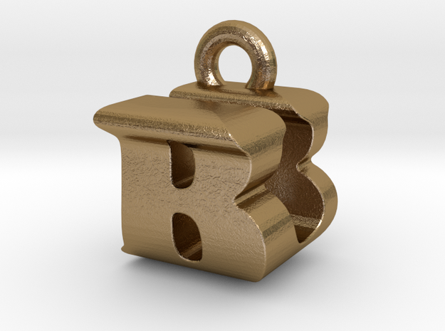 3D Monogram Pendant - BUF1 in Polished Gold Steel