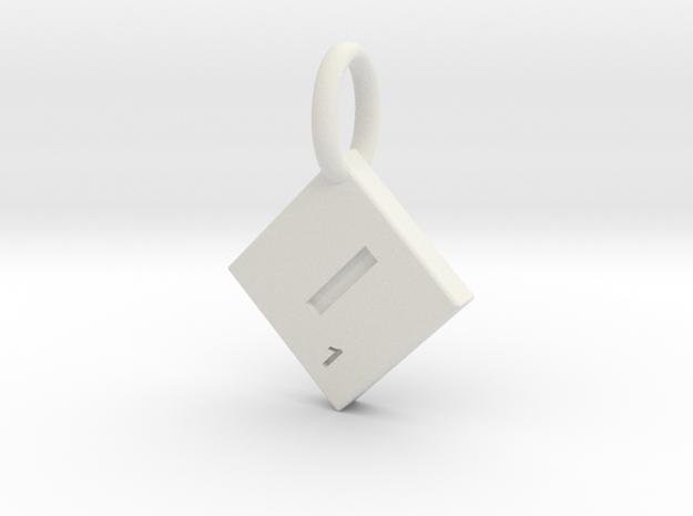SCRABBLE TILE PENDANT  I  in White Natural Versatile Plastic