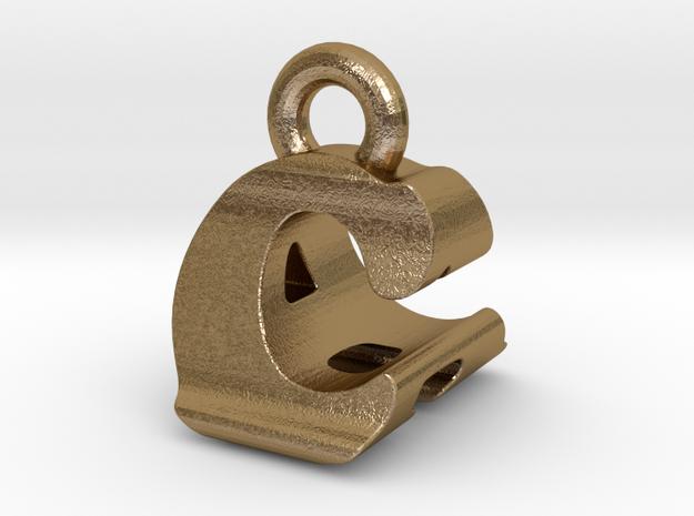 3D Monogram Pendant - CAF1 in Polished Gold Steel