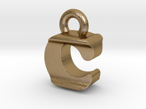 3D Monogram Pendant - CIF1 in Polished Gold Steel