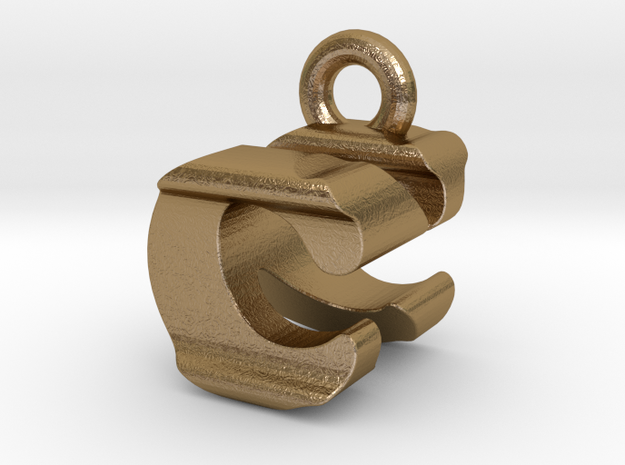 3D Monogram Pendant - CNF1 in Polished Gold Steel
