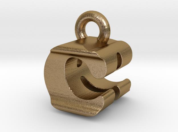 3D Monogram Pendant - CRF1 in Polished Gold Steel