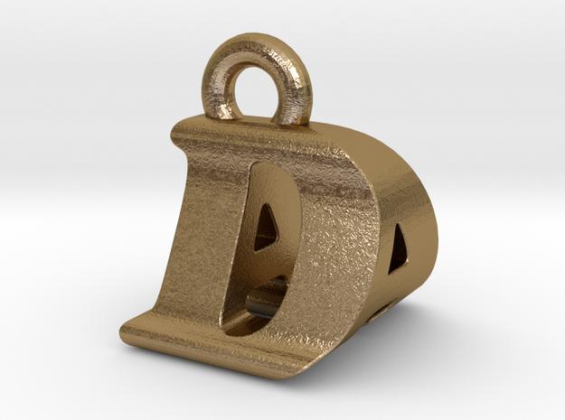 3D Monogram Pendant - DAF1 in Polished Gold Steel