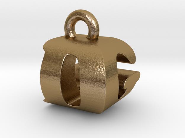 3D Monogram Pendant - DGF1 in Polished Gold Steel