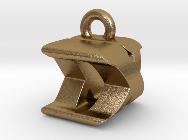 3D Monogram Pendant - DXF1 in Polished Gold Steel