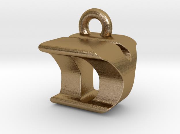3D Monogram Pendant - DYF1 in Polished Gold Steel