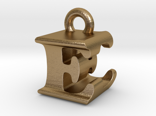 3D Monogram Pendant - EEF1 in Polished Gold Steel