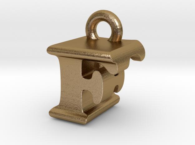 3D Monogram Pendant - FEF1 in Polished Gold Steel