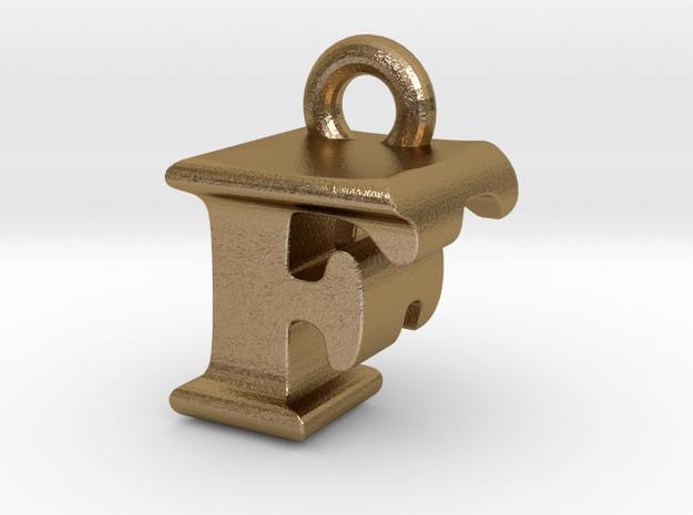 3D Monogram Pendant - FFF1 in Polished Gold Steel