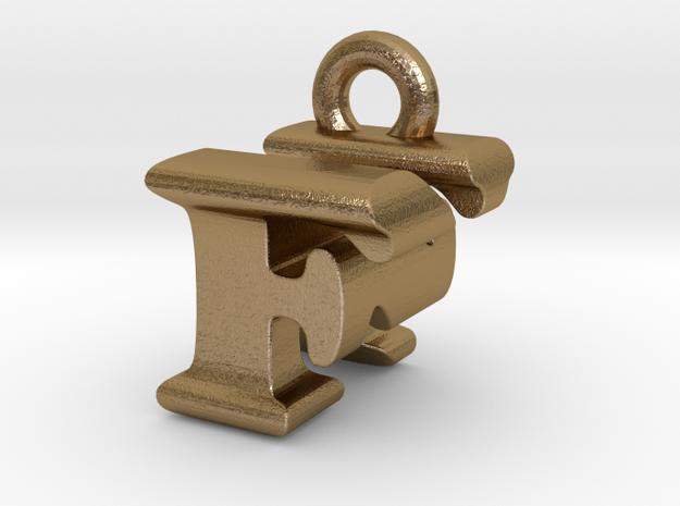 3D Monogram Pendant - FNF1 in Polished Gold Steel