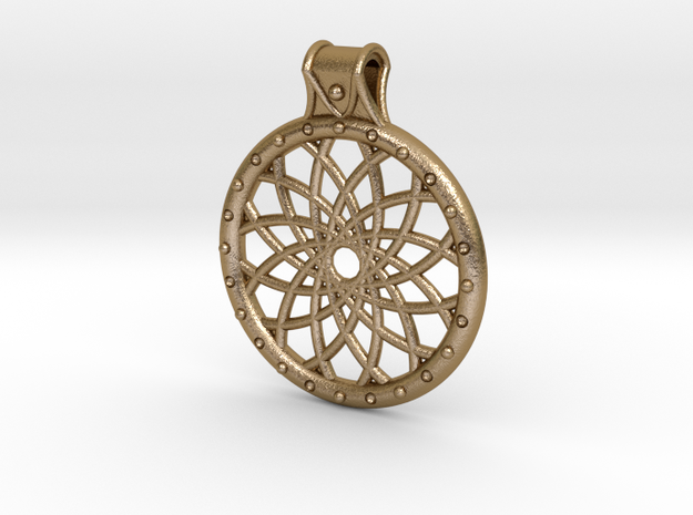 Dream Catcher Pendant in Polished Gold Steel