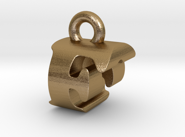 3D Monogram Pendant - FOF1 in Polished Gold Steel