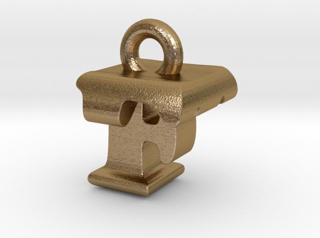 3D Monogram Pendant - FTF1 in Polished Gold Steel