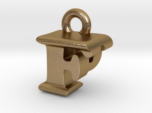 3D Monogram Pendant - FPF1 in Polished Gold Steel