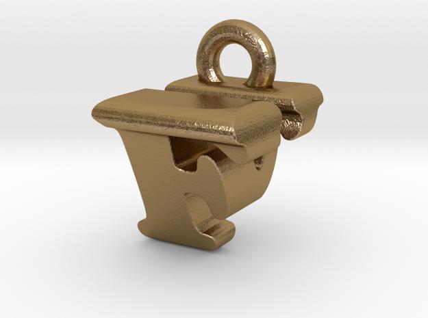 3D Monogram Pendant - FVF1 in Polished Gold Steel