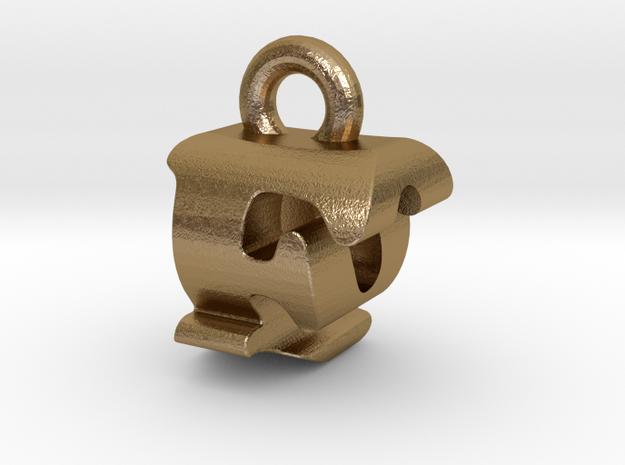 3D Monogram Pendant - FQF1 in Polished Gold Steel