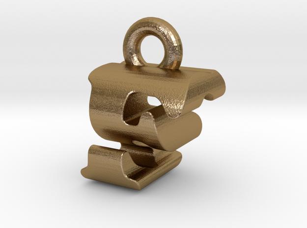 3D Monogram Pendant - FSF1 in Polished Gold Steel