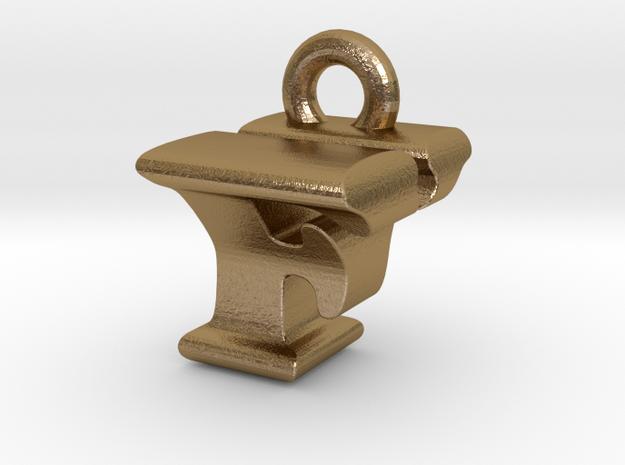 3D Monogram Pendant - FYF1 in Polished Gold Steel