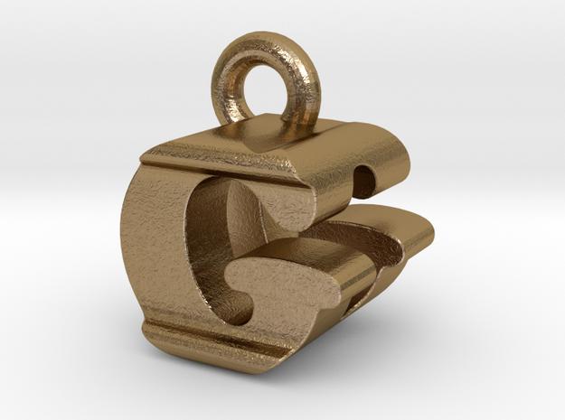 3D Monogram Pendant - GDF1 in Polished Gold Steel
