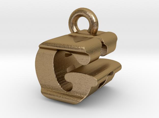 3D Monogram Pendant - GHF1 in Polished Gold Steel