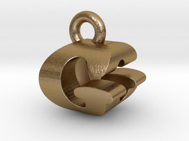 3D Monogram Pendant - GOF1 in Polished Gold Steel