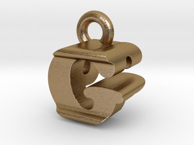 3D Monogram Pendant - GPF1 in Polished Gold Steel