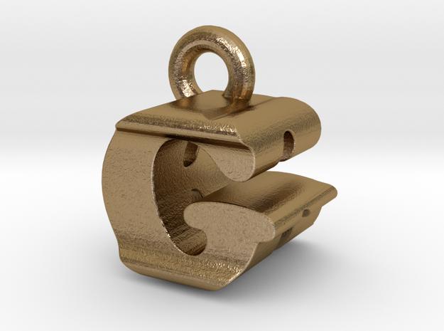 3D Monogram Pendant - GRF1 in Polished Gold Steel