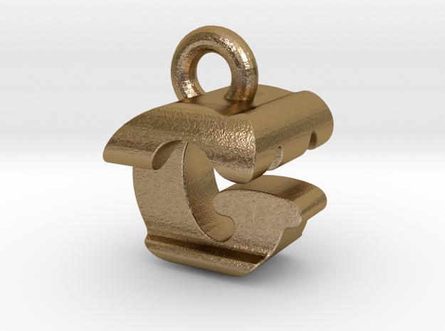3D Monogram Pendant - GTF1 in Polished Gold Steel