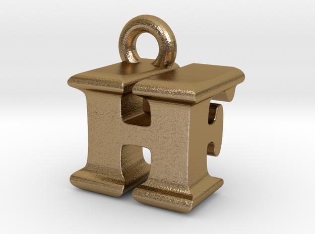 3D Monogram Pendant - HFF1 in Polished Gold Steel