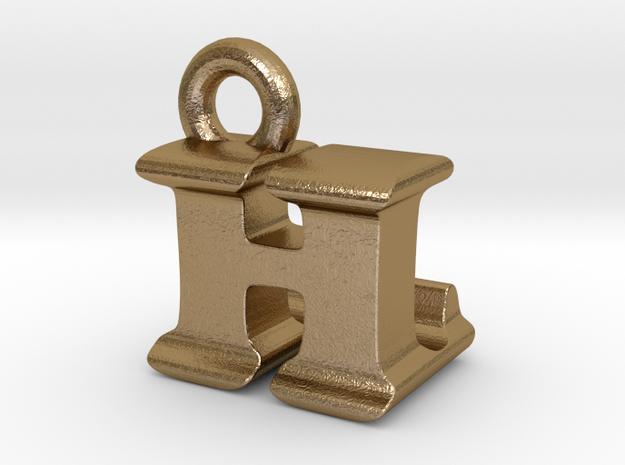 3D Monogram Pendant - HLF1 in Polished Gold Steel