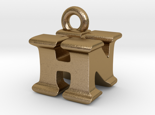 3D Monogram Pendant - HNF1 in Polished Gold Steel