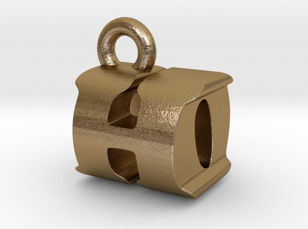 3D Monogram Pendant - HOF1 in Polished Gold Steel