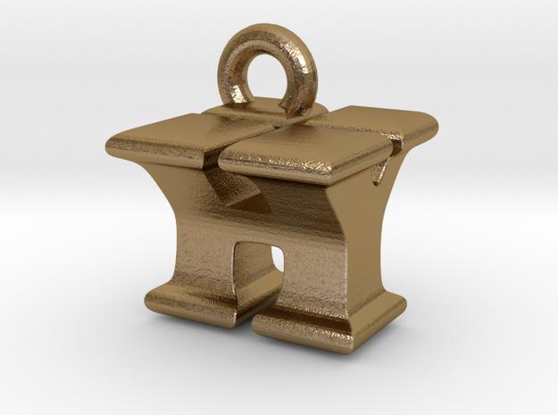 3D Monogram Pendant - HYF1 in Polished Gold Steel