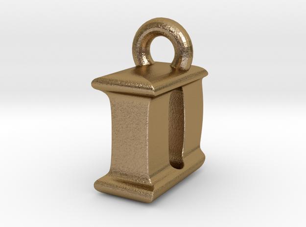 3D Monogram Pendant - IDF1 in Polished Gold Steel