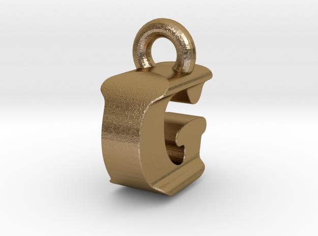 3D Monogram Pendant - IGF1 in Polished Gold Steel