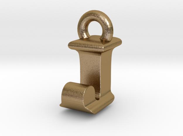 3D Monogram Pendant - IJF1 in Polished Gold Steel