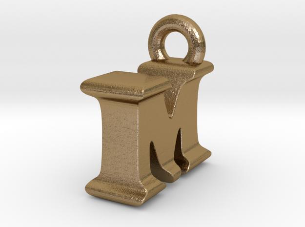 3D Monogram Pendant - IMF1 in Polished Gold Steel