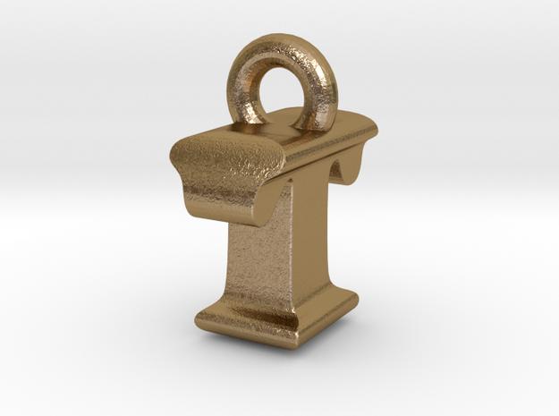 3D Monogram Pendant - ITF1 in Polished Gold Steel
