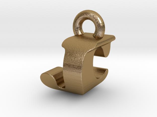 3D Monogram Pendant - JCF1 in Polished Gold Steel