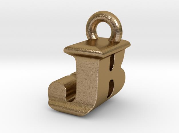 3D Monogram Pendant - JBF1 in Polished Gold Steel