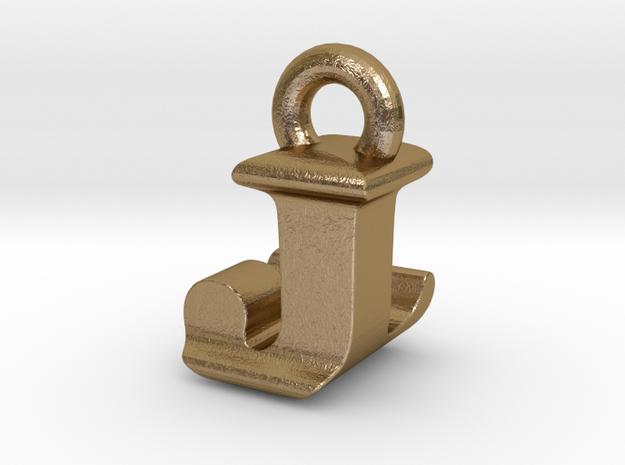 3D Monogram Pendant - JLF1 in Polished Gold Steel
