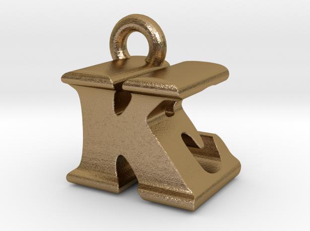 3D Monogram Pendant - KEF1 in Polished Gold Steel