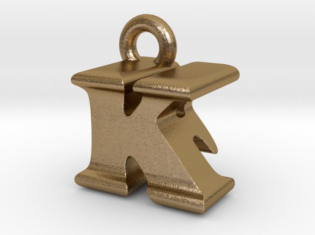 3D Monogram Pendant - KFF1 in Polished Gold Steel