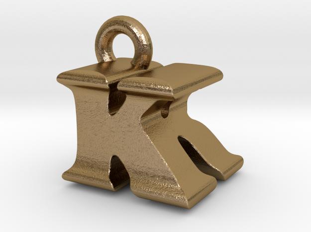3D Monogram Pendant - KRF1 in Polished Gold Steel
