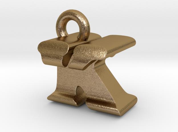3D Monogram Pendant - KTF1 in Polished Gold Steel